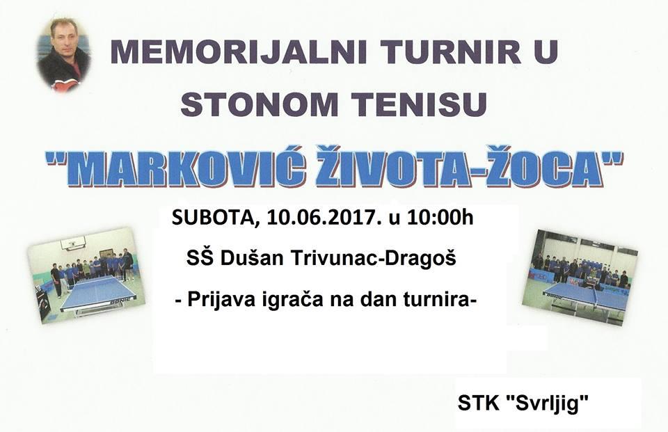 """Memorijalni turnir u stonom tenisu """"Marković Života Žoca"""""""