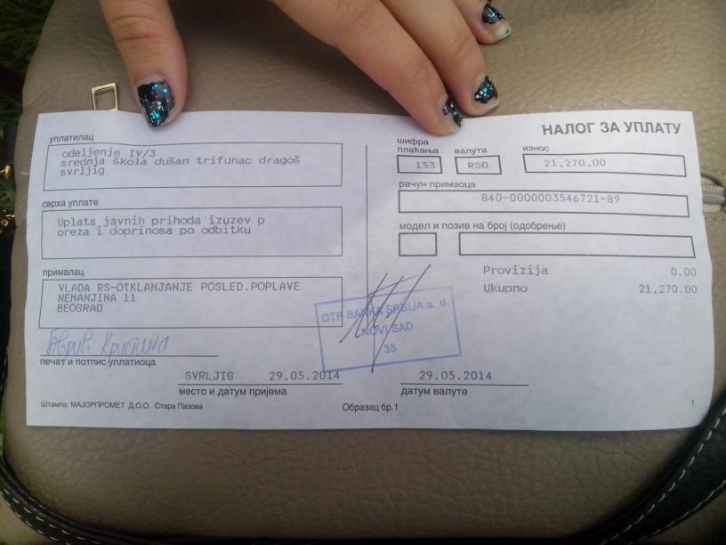 Srednjoškolci uplatili 21.170 RSD ugroženima od poplava