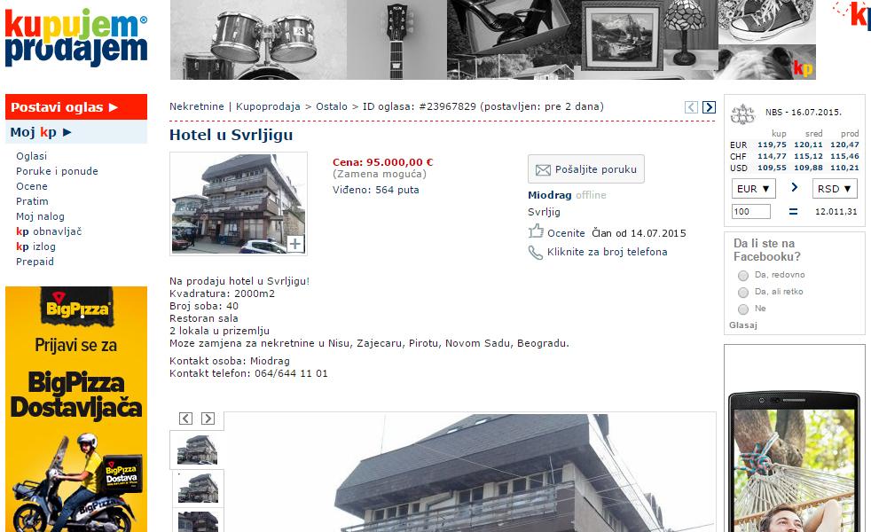Hotel u centru Svrljiga menja za nekretnine po Srbiji