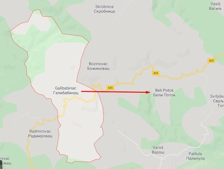 Ilustracija, Google maps, Galibabinac - Beli Potok