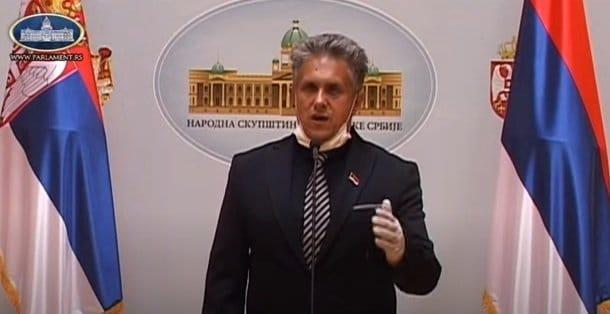 Narodni poslanik Milija Miletić, foto: Youtube Parlament Srbije, konferencija