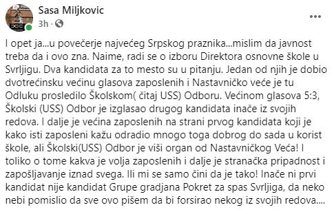 PrtScr objave odbornika Saše Miljkovića na Fejsbuku