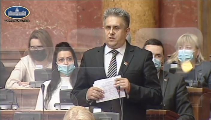 Milija Miletić, prtScr, youtube kanal Parlament Srbije