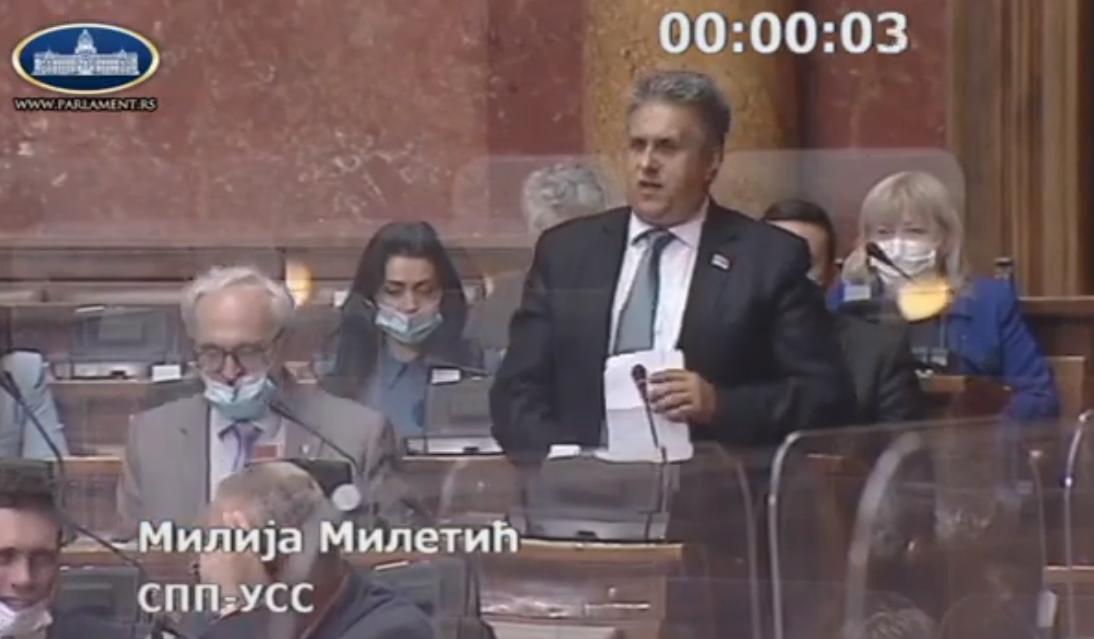 Miletić Milija, foto: Parlament, youtube