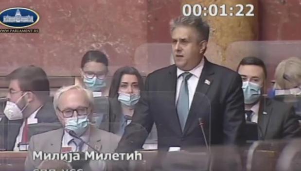 Miletić, foto: Parlament Srbije, youtube
