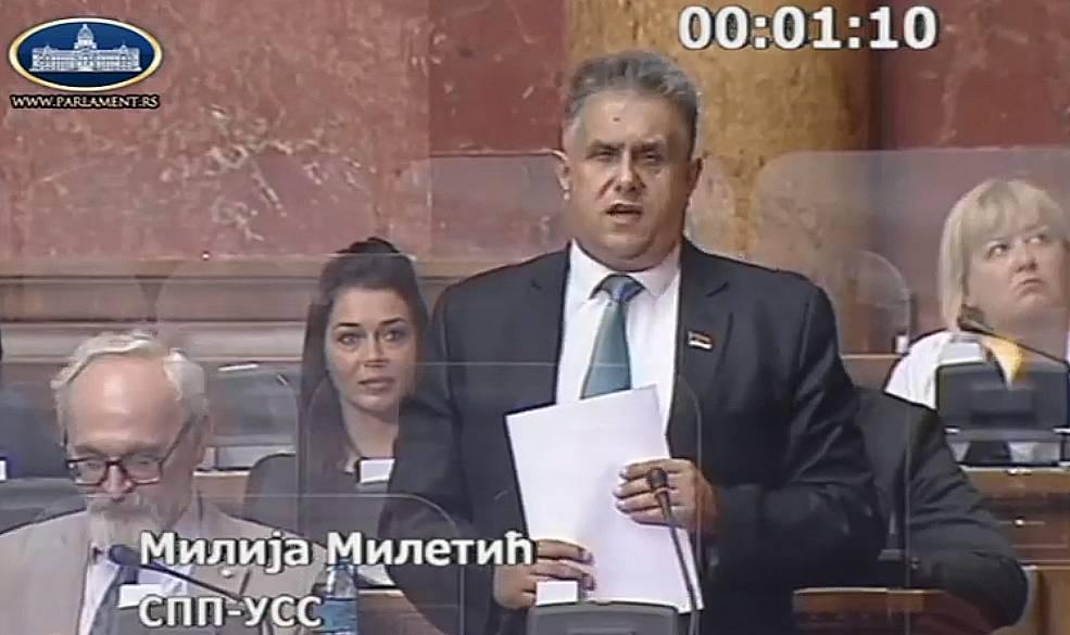 Narodni poslanik Milija Miletić, foto: Parlament