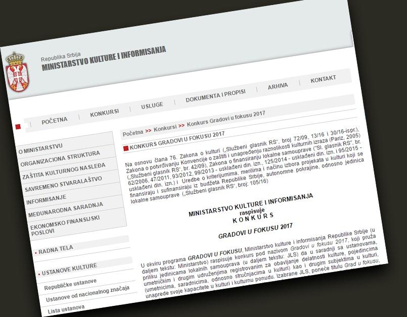 """Konkurs Ministarstva kulture i informisanja ''Gradovi u fokusu"""""""