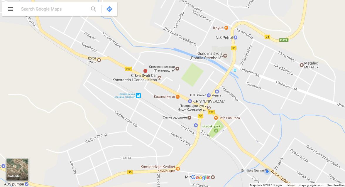 """Svrljig lepo prezentovan na aplikaciji """"Gugl maps"""""""