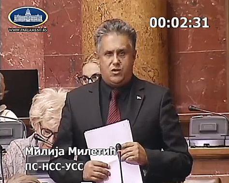 Narodni poslanik Miletić u obraćanju, foto: PrtScr, Narodna Skupština Republike Srbije, Youtube kanal