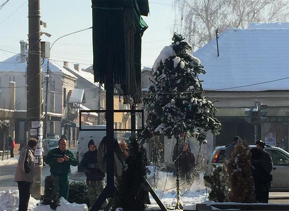 Uklanjanje jelke iz centra grada, foto: M. S. / Svrljiške novine