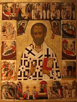 Ruska ikona iz 16. veka na kojoj je prikazan sa Sveti Nikola sa scenama iz svog života. Ikona se čuva u Nacionalnom muzeju u Stoklolmu, Švedska. / Wikipedija