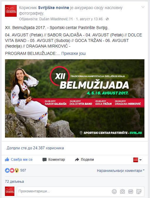 """Više od 30.000 ljudi posetilo portal """"Svrljiške novine"""" uoči """"Belmužijade"""""""